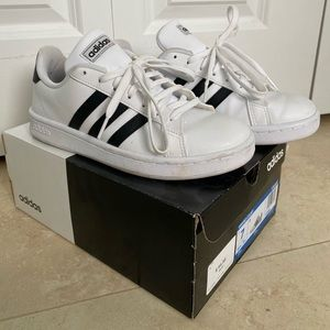 Adidas grand court tennis sneakers.
